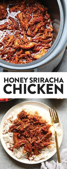All you need are five ingredients to make this delicious, clean-eating, slow coo. All you need are five ingredients to make this delicious, clean-eating, slow cooker honey sriracha chicken that's made with REAL food. Clean Eating Grocery List, Clean Eating Chicken, Clean Eating Breakfast, Clean Eating Dinner, Clean Eating Recipes, Easy Healthy Recipes, Real Food Recipes, Dinner Healthy, Clean Eating Pasta