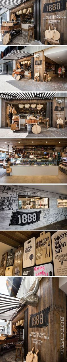 Decoración en madera. 1888 Certified Butcher brands at every touchpoint and creates a customer experience to remember. #Retail #Sydney #Design