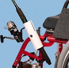 The wheelchair fishing pole holder was a very clever idea to allow individual in wheelchairs to participate in this popular outdoor activity. It can be difficult to hold the fishing pole comfortably in a wheelchair but the holder is stable and reliable. Fishing Pole Holder, Pole Holders, Fishing Rod, Wheelchair Accessories, Kayak Accessories, Handicap Accessories, Adaptive Equipment, Outdoor Power Equipment, Handicap Equipment