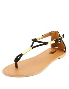Gold-Wrapped Gladiator Thong Sandals: Charlotte Russe