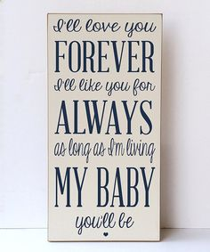 Love this Cream & Navy 'Love You for Always' Wall Sign by Vinyl Crafts on #zulily! #zulilyfinds
