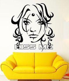 Sexy Girl Vinyl Decal Kiss Me Beauty Women Tattoo Decor Wall Stickers (ig2312)