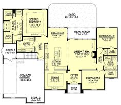 European Style House Plan - 3 Beds 2 Baths 2091 Sq/Ft Plan #430-94 Floor Plan - Main Floor Plan - Houseplans.com