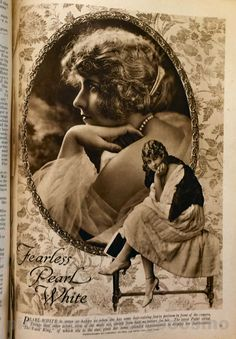 """Publicity photo of Pearl White the most famous silent serial film actress of 1916 from Cosmo Sept 1917. She starred in serial """"The Perils of Pauline"""" where she played an adventurous damsel and did some of her own stunts. She injured her spine doing a stunt. When feature films became more popular than serials in the 20s, her career declined and she moved to France. She took drugs & alcohol for her past painful injury and she died of cirrhosis aged 47."""
