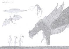 aliens vs dragons pencil drawing