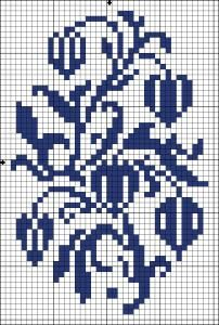 Physalis | Chart for cross stitch and filet crochet.