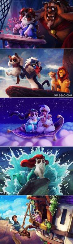 Grumpy cat in Disney movies...haha, the Tangled one is the best!