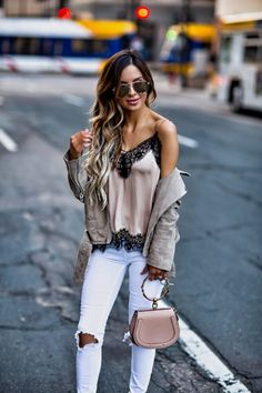 How I'm Wearing The Pajama Trend This Summer - Outfit Details: H&M Lace Cami BlankNYC Suede Jacket Free People White Denim Chloe Nile Bag BaubleBar Layered Necklace Le Specs Sunglasses Sam Edelman Suede Heels June 5th, 2017 by maria
