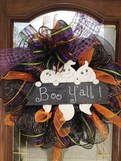 Mesh+Halloween+Door+Wreath+by+PinkTulipOfDaphne+on+Etsy,+$50.00 Halloween Door Wreaths, Halloween Deco Mesh, Halloween Projects, Holiday Wreaths, Halloween Crafts, Halloween Items, Halloween Decorations, Holidays Halloween, Happy Halloween