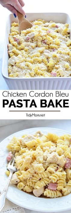 Creamy pasta, melty swiss cheese, chicken, ham all under a a crunchy topping makes this easy Chicken Cordon Bleu Pasta Bake a family favorite. Grab the recipe at http://TidyMom.net