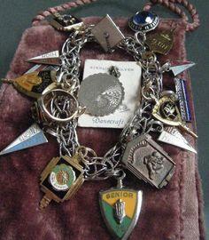 Rha, Rha school pennants, rings, mortarboard and things charm bracelet