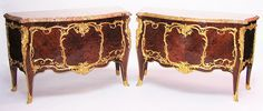 A Very Fine, Large and Impressive Pair of French 19th Century Louis XV Style Gilt-Bronze Mounted Kingwood, Satinwood and Tulipwood Floral Marquetry Two-Drawer Bombé Commodes Attributed to FRANÇOIS LINKE, INDEX NUMBER 1810, PARIS, LATE 19TH/EARLY 20TH CENTURY with a Brêche d'Alep Marble Top. Unsigned and unmarked. Circa: Paris, 1890