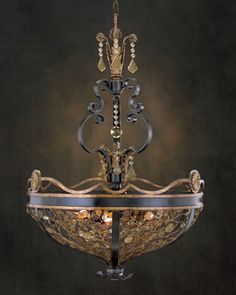 Chandelier - for one inch scale, isn't there craft paint with gold flakes in it?