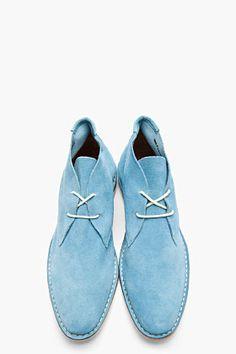 SHIPLEY & HALMOS Blue Suede Max Chukka Boots