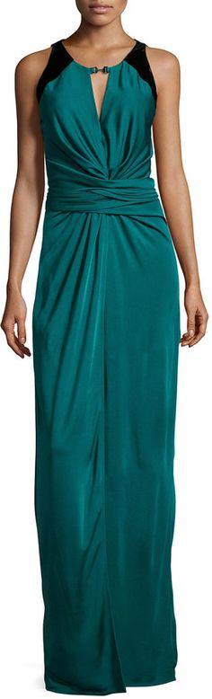 Halston Heritage Sleeveless Ruched-Front Evening Gown, Dark Pine/Black