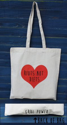 Riots not Diets - feminism tote shopper bag, girl power