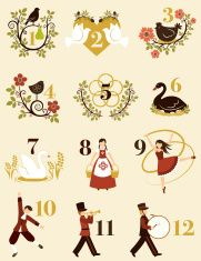 The Twelve Days Of Christmas vector art illustration                                                                                                                                                                                 More