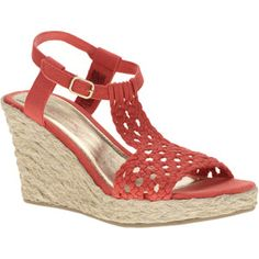 Faded Glory Womens Gia Crochet T-Strap Wedge Sandals