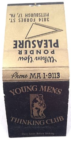 """Vintage Matchbook - Young Mens Thinking Club - """"Where you ponder pleasure"""" - Forbes Ave"""