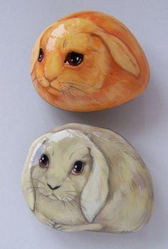 Роспись по камню ручной работы. Ярмарка Мастеров - ручная работа кролики. Handmade.