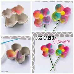 Colorful Egg Carton Flowers for preschool spring craft Craft Activities, Preschool Crafts, Easter Crafts, Crafts For Kids, Spring Projects, Spring Crafts, Craft Projects, Crafts To Do, Arts And Crafts
