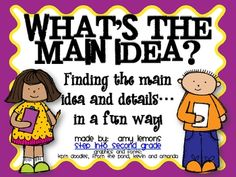 This Main Idea/Details Pack has several activities that can be used with books of your choice.  Most of the activities are not