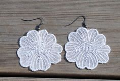 White embroidery hook dangle earrings, for the bride, wedding, embroidered earrings, flower, Mother's Day Gifts