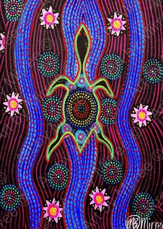 The Official Website ~ *Artworks by Mirree* - Dreamtime Snake-Head Turtle with lotus Emotions Contemporary Aboriginal Art Print by Mirree Aboriginal Dot Painting, Aboriginal Artists, Aboriginal Art Animals, Indigenous Australian Art, Indigenous Art, Kunst Der Aborigines, Frida Art, Arte Tribal, Aboriginal Culture