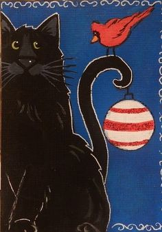 CAT ACEO Holiday Black Cat with Cardinal   -  by Pryjmak