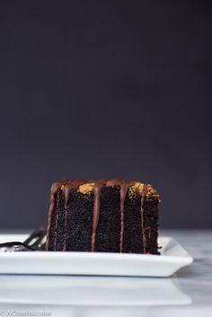 Paleo / Gluten-free Deep Dish Chocolate Cake with almond butter swirl - It's the Paleo version of a peanut butter/chocolate cake!