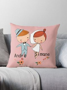 just married cover/ pillow sofa personalized cushion 46 cm