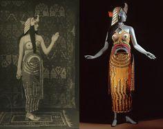 Sonia Delaunay costume for Cleopatra worn by Lubov Tchernicheva c. 1918. Left: Public domain image Right: via @lacma
