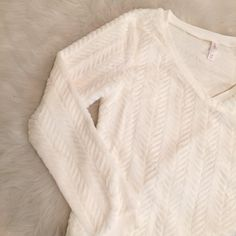 Fuzzy V-neck Sweater Brand new, never worn faux fur like sweater in a really subtle chevron pattern. So cute and perfect for the winter! Sweaters V-Necks