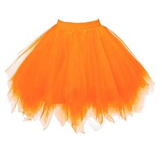 1abdaecc44d MizHome Womens Orange Plus Size Tutu Skirt Layered Tulle Skirt Adult  Halloween Costumes Best Halloween Costumes