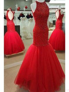 Red High Neck Open back Beading  Long Mermaid   Prom Dresses  Evening Dresses  (ED1394)