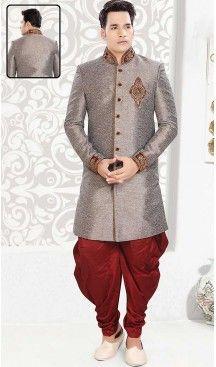 Dove Color Jute Indo Western Style Mens Wear Suit | FH507277311 #sherwani, #wedding, #mens, #fashion, #boutique, #indowestern, #kurta, #pajama, #turban, #safa, #heenastyle, #man, #churidar , #dhoti , #dupatta , #chunni