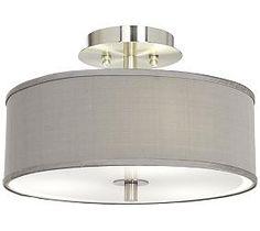 Gray Faux Silk 14-Inch-W Flush-Mount Ceiling Light