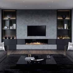 Show-stopping Modern Wall Units for your Living Room - Designer TV Wall Ideas S. - Show-stopping Modern Wall Units for your Living Room – Designer TV Wall Ideas Show-stopping Mode - Fireplace Tv Wall, Fireplace Design, Living Room Tv, Living Room With Fireplace, Tv On Wall Ideas Living Room, Living Room Modern, Living Room Designs, Tv Wanddekor, Modern Tv Wall Units