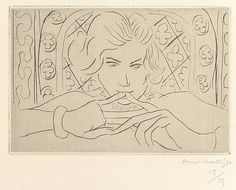 """Henri Matisse """"Face, Silence"""" 1929 Drypoint on chine colle"""