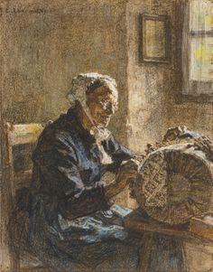 La vieille dentellière. 1899 de Léon Augustin LHERMITTE (français 1844 - 1925)