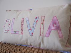 Personalized name letter applique pillow cushion girls baby children kids OLIVIA pink decor - any name up to seven letters, with cushion pad on Etsy, $46.88