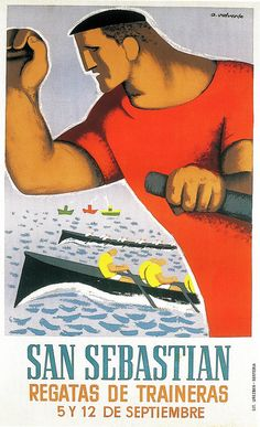 Spanish Posters, Sign Image, Travel Ads, Railway Posters, Remo, Basque Country, Graphic Design Posters, Vintage Travel Posters, Rowing