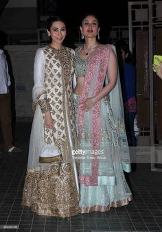 Kareena Kapoor with her sister Karishma Kapoor at Soha Ali Khan and Kunal Khemus wedding reception in Mumbai.