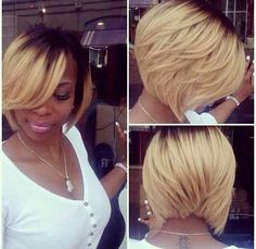 Short Blonde Ombre Bob