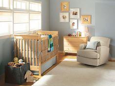 Kids - Room & Board - Gray walls and maple furniture Maple Furniture, Modern Kids Furniture, Brown Furniture, Bedroom Furniture, Furniture Ideas, Glider And Ottoman, Swivel Glider, Swivel Chair, Glider Chair