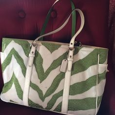 Coach Vintage Zebra And Logo Print Tote Bag.