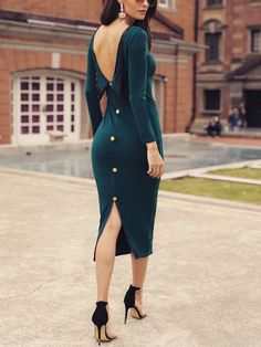 Trend Blue Bodycon Dress That you Can Try for Style Fashion This Year - Cimonds Fall Dresses, Casual Dresses, Fashion Dresses, Dresses Dresses, Dresses Online, 1950s Dresses, Formal Dresses For Women, Vintage Dresses, Classy Dress