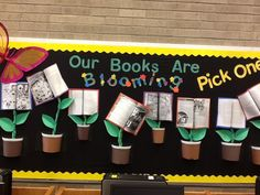 Books are Blooming...Pick One! My spring Library bulletin board.