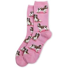 Hot Sox Spaniel Print Socks ($2.99) ❤ liked on Polyvore featuring intimates, hosiery, socks, pink, pink socks, hot sox, patterned hosiery, ribbed socks and hot sox socks