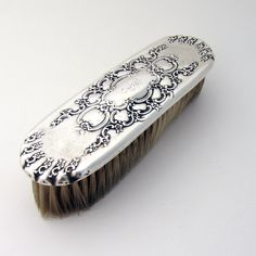 Tiffany Floral Scroll Synthetic Clothes Brush Sterling Silver 1890